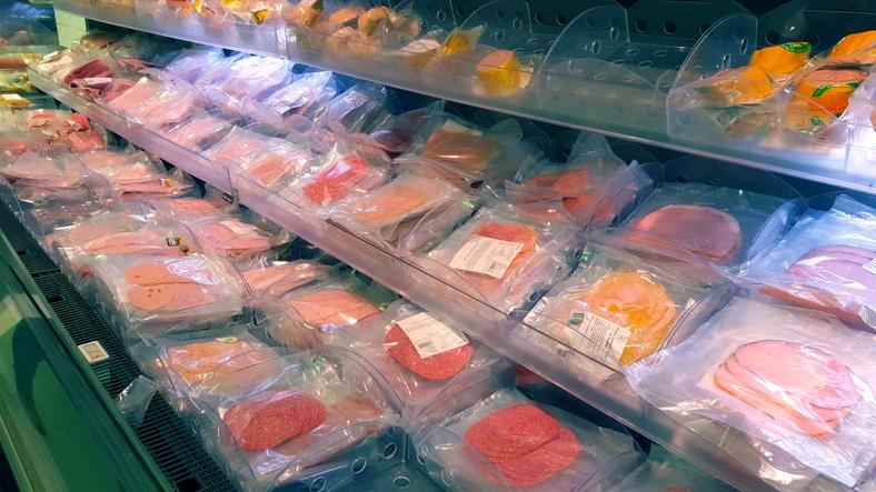 Meat in freezer in supermarket